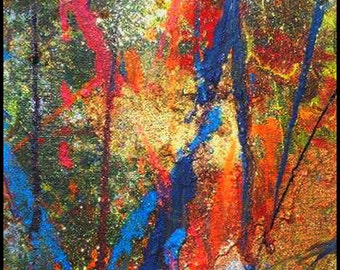 Original Painting - Abstract Painting with Reds, Greens, Oranges, Blues & Glitter by David Lawter