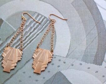 Art Deco Earrings Brazen Brass Drops