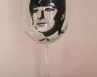 Hand Painted Wine Glass - BARBRA STREISAND, Singer, Actress, Film Producer, Directore