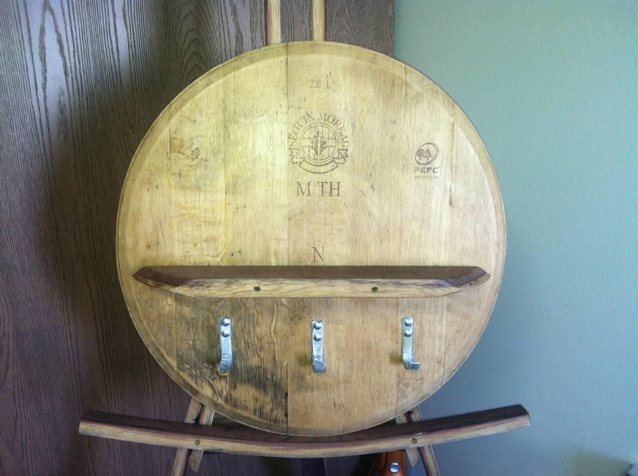 Barrel Head Shelf With Hooks