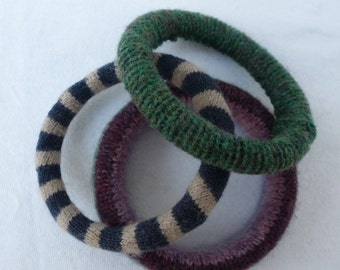 Recycled jewelry stacking bangles wool jewelry ecofriendly ladies bangles teen upcycled jewelry eco bangles womens jewelry vintage bangles.