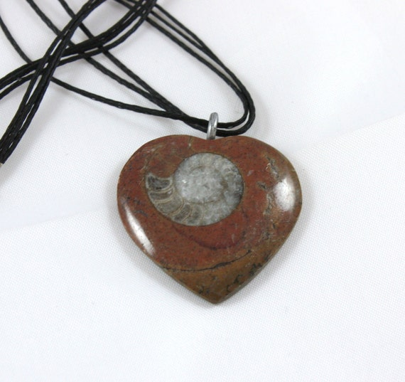 Heart Shaped Ammonite Fossil Pendant - Gift Idea - Ready to Ship
