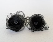 Flower Earrings Organza, Satin, Lace