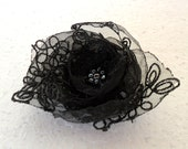 Black Flower Organza Lace Satin Flower Pin Brooch with Czech Glass Beads