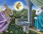 BUNNUNCIATION fine art limited edition print Renaissance rabbits annunciation 8 x 10