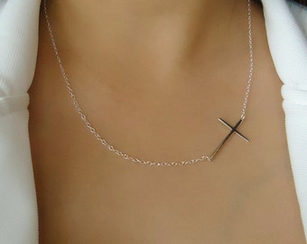 925 Sterling Silver Celebrity-adored Sideways Cross Necklace on-the-side, Modern Jewelry, Trending Now, Layered Look, Gifts for Her