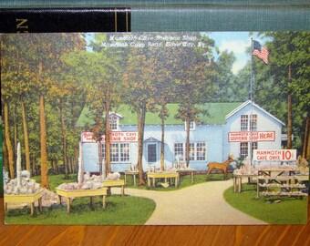 Vintage Postcard, Mammoth Cave Souvenir Shop, Kentucky 1940s Linen Paper Ephemera