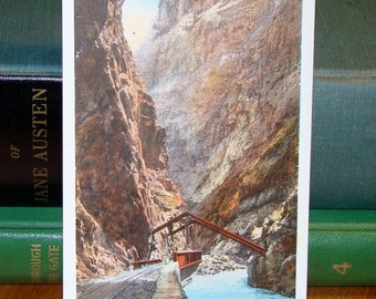 Vintage Postcard, Hanging Bridge, Royal Gorge, Colorado 1930s Paper Ephemera