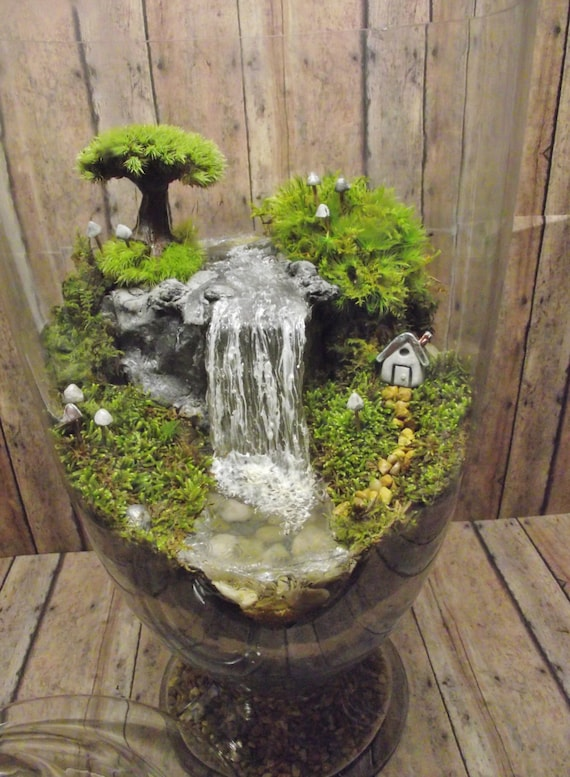 amazing huge waterfall terrarium with raku fired by gypsyraku. Black Bedroom Furniture Sets. Home Design Ideas