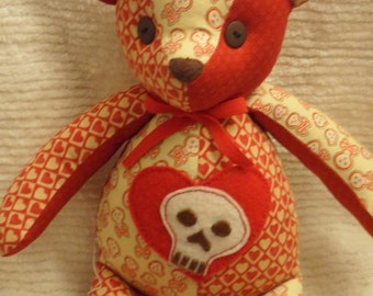 Handcrafted Skull and Red Heart Teddy Bear