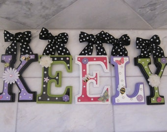 CUSTOM Wooden Nursery Wall Letters - Hand Painted by a Professional Artist - Hanging Letters - Nursery or Child's Room - Any color Variation