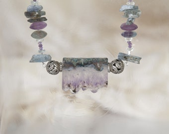 Slice of Amethyst necklace w/ Kyanite & tribal silver