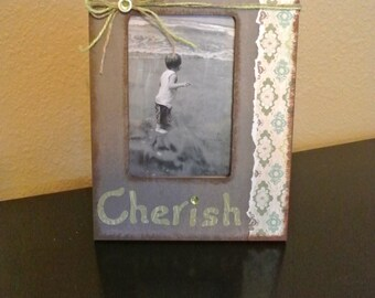 Cherish 4 x 6  picture frame - brown, green and tan