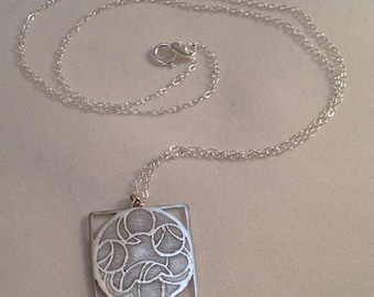 Art Deco inspired Sterling Silver etched square pendant (BL0015)