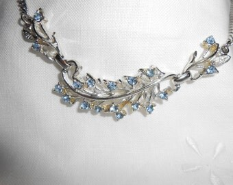 Vintage Glamorous Blue Rhinestone Flower Silver Coro Necklace