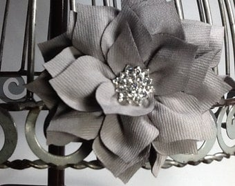 Gray flower hair clip hair accessory, gray flower with blingy center girls hair clips, gray hair accessories