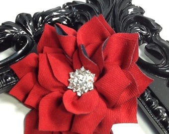 Flower hair clip hair accessory, red flower with blingy center red girls hair clips, hair accessories