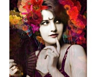Spanish Flamenco goddess, digital print, art deco, 1920 s, photomontage, digital art, flapper, abstract, modern art, home decor, wall art