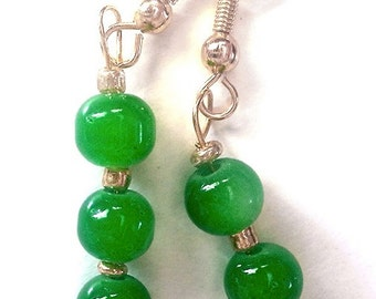 Green Jade Gemstone Dangling Earrings