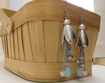 Raindrops in the Flowers Earrings - READY TO SHIP - Blue and Cream Dangle Earrings - Freshwater Pearl Earrings