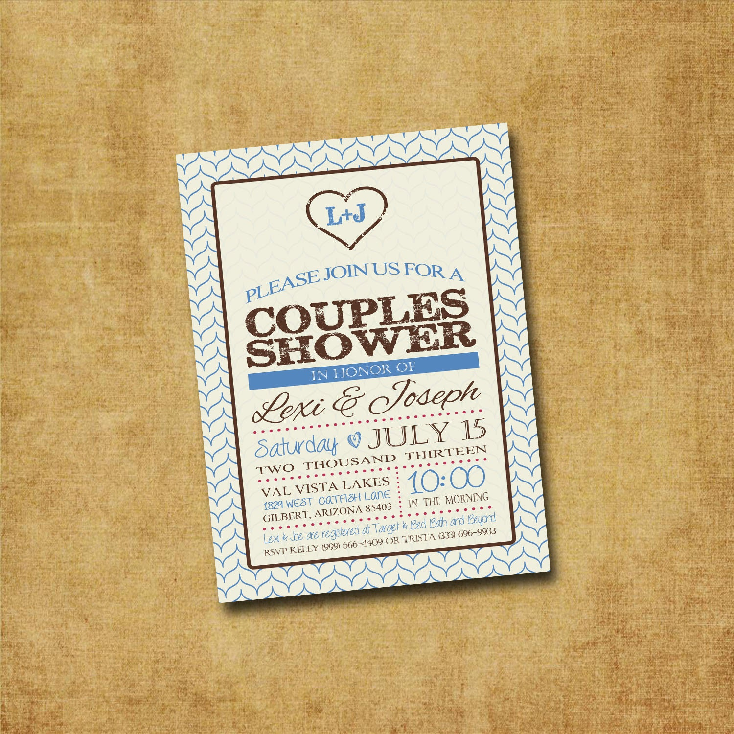 Printable couples shower invitation rustic by paxprintables for Wedding engagement party invitations
