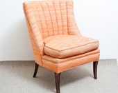 Vintage Slipper Chair - Orange, Sorbet, Scallop Back - TheSpringFox
