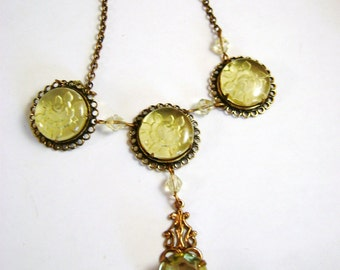 SALE Art Deco Intaglio  Pale Yellow Czech Glass Necklace NOW 135.00
