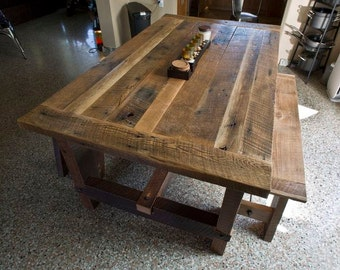 Dine table barn wood etsy for Barn style kitchen table