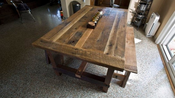 Solid oak reclaimed barn wood dining room table for Reclaimed dining room table