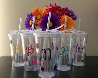 Personalized Tumbler with Initial and Polka Dots