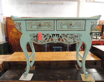 Chinese Console or Altar Table in Turquoise (Los Angeles)