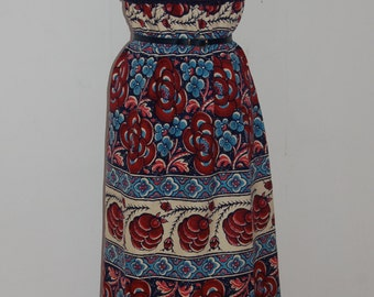 1960s vintage hippy canvas dress with floral detail