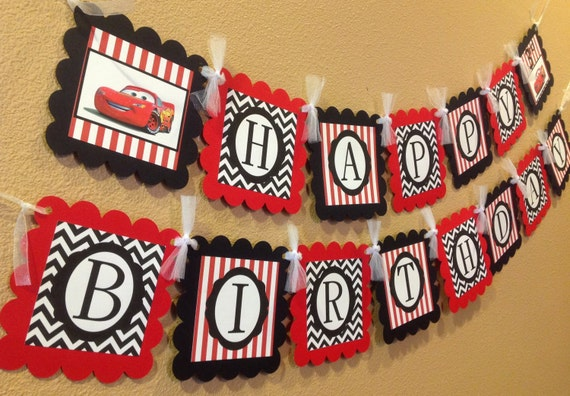 Cars Inspired Disney Happy Birthday Banner - Black Chevron & Red Stripes - Party Pack Specials Available