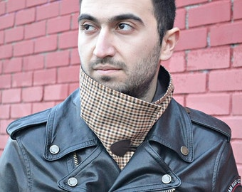 Plaid Scarf, Brown Neckwarmer, Mens Cowl Neck, Neckwarmer, Mens Scarf, Womens Scarves, Neck Scarf, Mens Gift, Winter Scarf, Womens Cowl