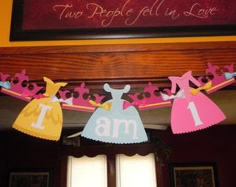"Princess ""I am 1"" Birthday Banner - Princess Dresses - Highchair banner"