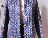 Blue ditsy floral quilted cotton jacket 80s
