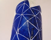 hand painted wine bottle up cycled navy blue geometric modern design spring home decor recycled - StudioSuzanna
