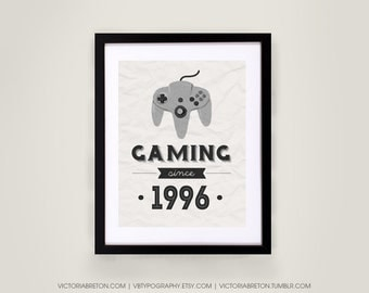 Gaming Since... - 11x17 typography print - custom print, retro style art, vintage print, inspirational, gaming gift, gamer