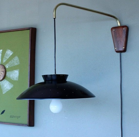 Wall Mount Hanging Lamp : Retro Wall Mounted Light / Mid Century Modern Lighting by DejaVuLB