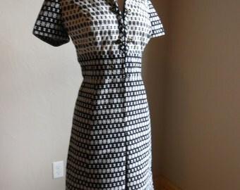 60's black and white house dress no. 073