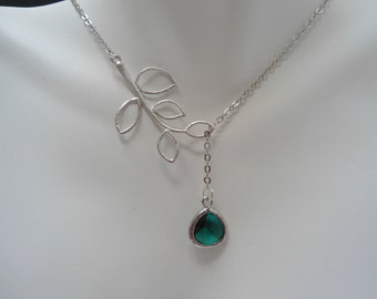 Branch lariat necklace , emerald lariat necklace , emerald silver necklace , emerald necklace , lariat green necklace