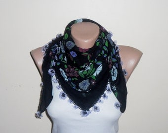 black scarf  purple flower lila green  white  cotton turkish yemeni oya handmade