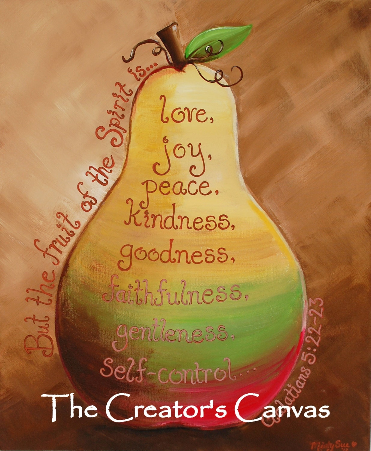 Fruit of the spirit original painting by thecreatorscanvas for Fruit of the spirit goodness craft