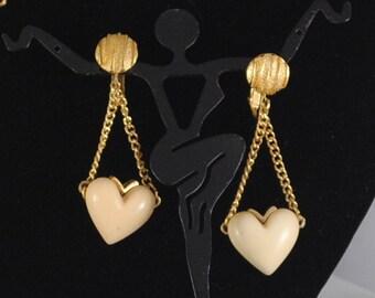 Vintage Heart Earrings 1960s