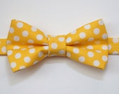Adjustable Bowtie For Boys, Men or Pets in Yellow Polkadots