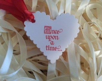 "100  WEDDING WISH TAGS "" Once Upon A Time"" Hearts Adorned with Satin Ribbon"