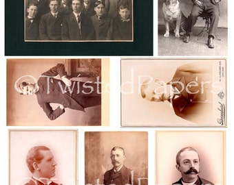 Photos & Cabinet Cards of Men from the 1880s through early 1900s, Digital Collage Sheet, 13-730