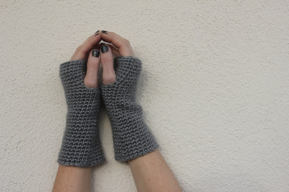 Valentine's Day Gift - Grey Fingerless Gloves, Grey Wrist Warmers