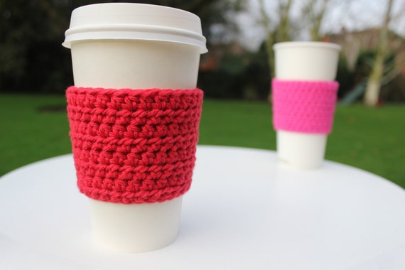 Red Crochet Cup Sleeve, Crochet Cup Cozy, Cup Cosy, Great Valentine's Day Gift