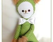 Teddy Bear Rag Doll Kids Toys green with polka dot - RedGirlBoutique